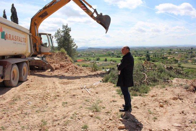 El alcalde de Alcañiz ha visitado hoy la zona que sufrió el derrumbe