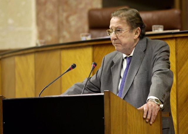 El consejero de Justicia e Interior, Emilio de Llera, interviene ante el Pleno