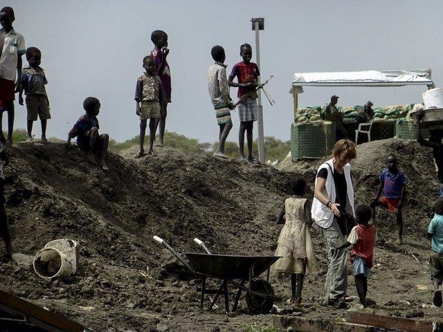 Refugiados en base de la ONU en Bentiu