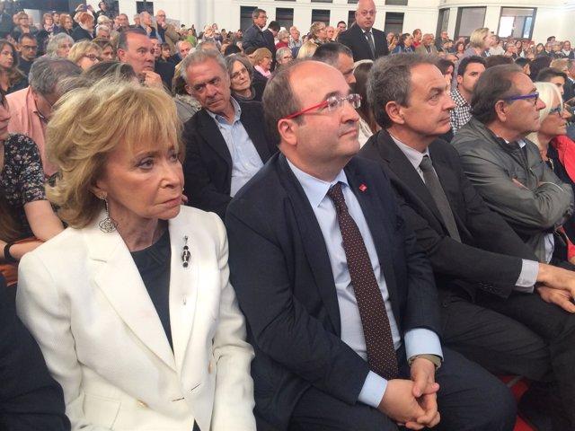 Miquel Iceta, José Luis Rodríguez Zapatero y María Teresa Fernández de la Vega