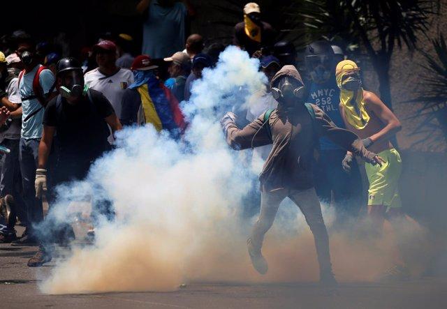 Disturbios en la marcha opositora por Caracas