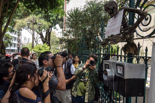 Protesta por los periodistas mexicanos asesinados