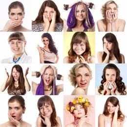 Fotografías de mujeres con distintas expresiones faciales.