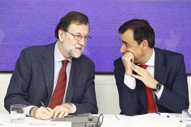 Rajoy y Maillo en el Comité Nacional Ejecutivo del PP en la sede del partido