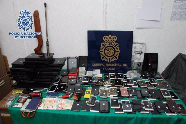 Móviles sustraídos policía nacional grupo cirminal robos españa detenidos suceso