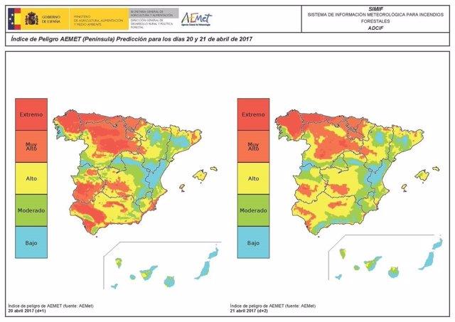 Riesgo de incendios en Asturias
