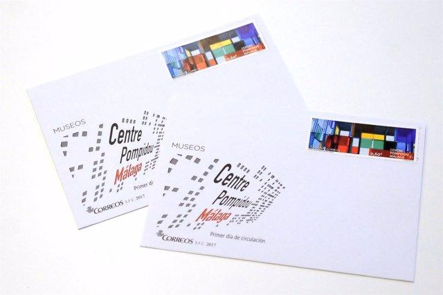 Sello y sobre del dedicada al Centre Pompidou Málaga