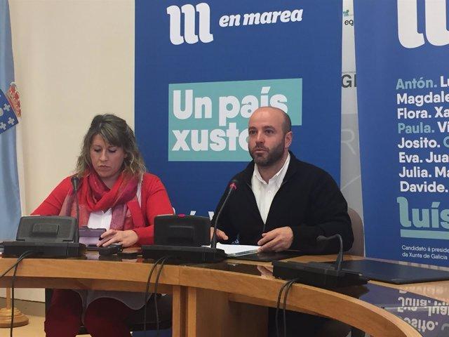 La diputada de En Marea Carmen Santos y el portavoz, Luís Villares