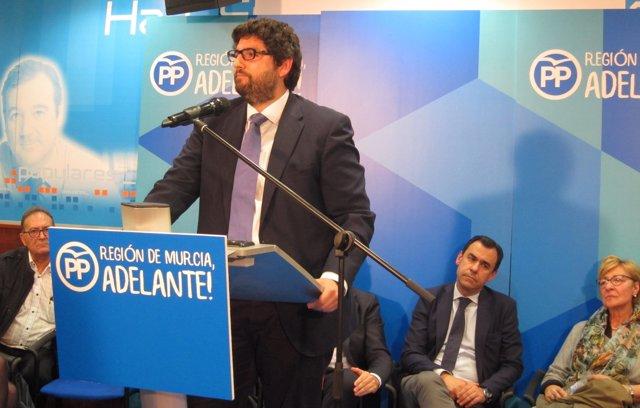 Fernando Lopez Miras, na Xunta Directiva del PP de Murcia