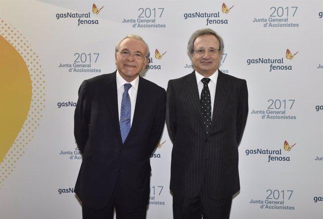 Isidre Fainé junto a Rafael Villaseca, en la junta de Gas Natural Fenosa