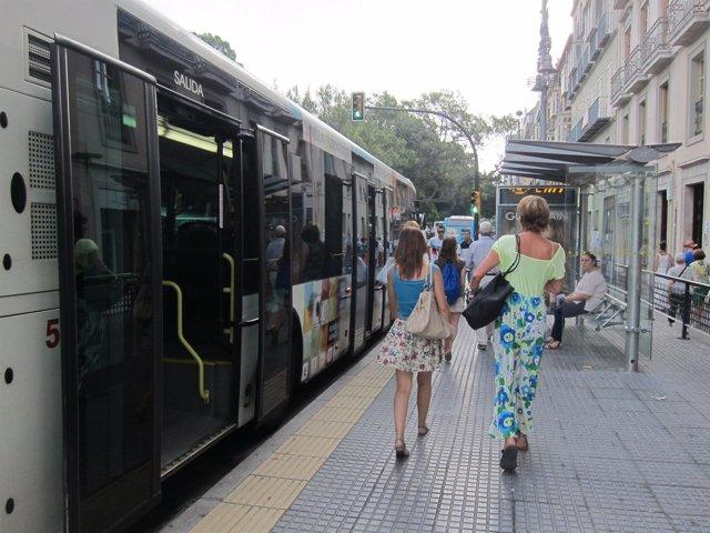 Parada, Bus, Autobús, EMT, personas, alameda, principal