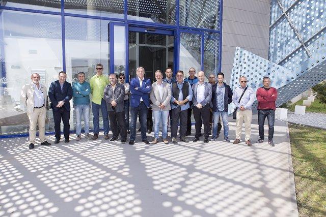 Dirigentes sindicales de Comisiones Obreras en su visita al Puerto de Motril