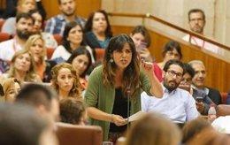 La coordinadora general de Podemos, Teresa Rodríguez, durante el debate
