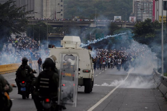 Represión de las marchas opositoras en Caracas