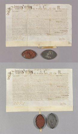 Pergamino del siglo XVI antes y después de restaurarse