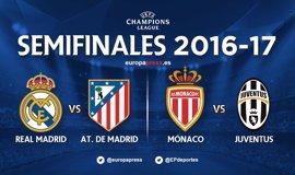 Real Madrid-Atlético y Mónaco-Juventus, semifinales de 'Champions'