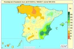 Distribución de las lluvias acumuladas de octubre de 2016 a 18 abril 2017