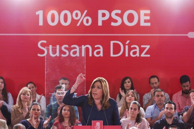 Susana Díaz, en un acto con militantes en La Rinconada