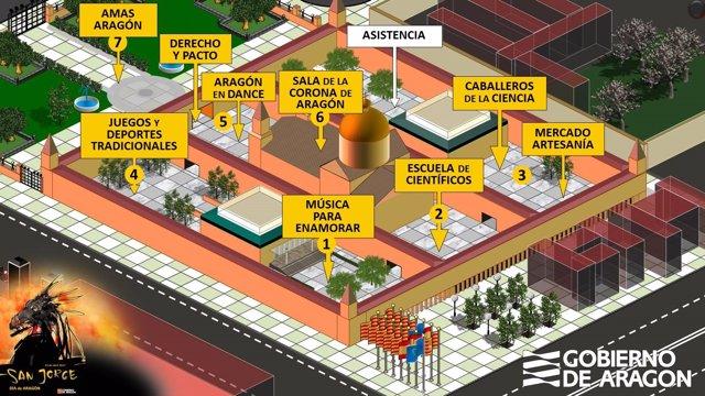 Mapa de actividades para el fin de semana en el edificio Pignatelli