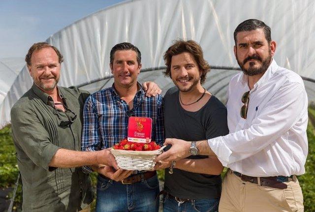 El cantante Manuel Carrasco visita campo de fresas.