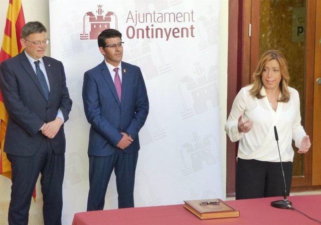 La presidenta andaluza ha visitado la localidad junto a Puig y Rodríguez