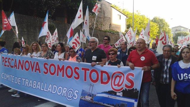 Manifestación en apoyo a los trabajadores de Nueva Pescanova