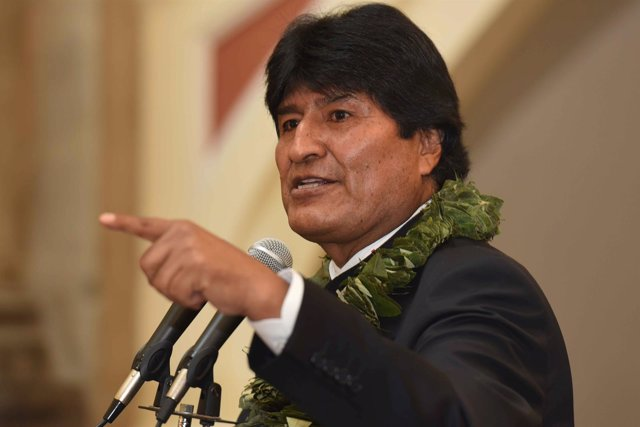 Bolivia's President Evo Morales speaks during a ceremony related to the approval