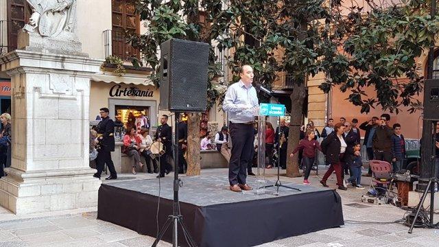 Juan García Montero en la presentación de su candidatura para el PP de Granada