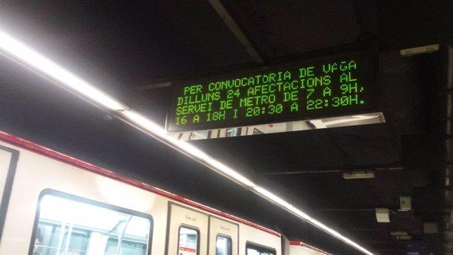 Hulega del Metro de Barcelona del 24 de abril