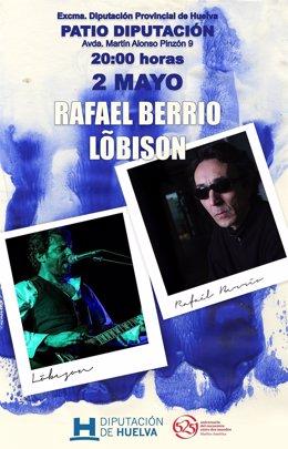 Cartel del concierto de Rafael Berrio y Lobison en Huelva