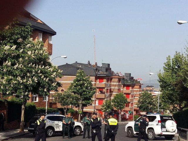 Imagen del edificio de viviendas desalojado, conocido como las 'Casas Rojas'