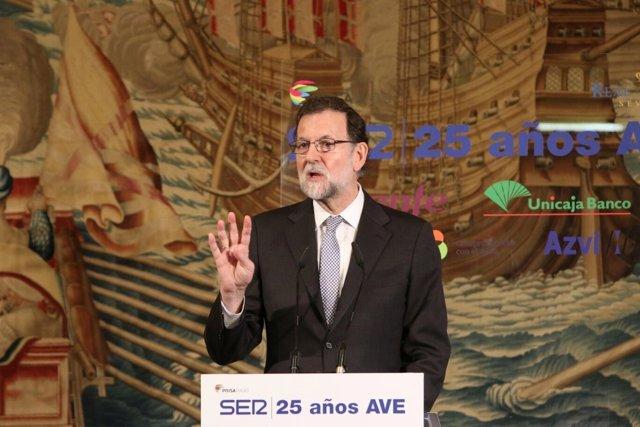 Mariano Rajoy, en una jornada sobre el aniversario del 25 aniversario del AVE