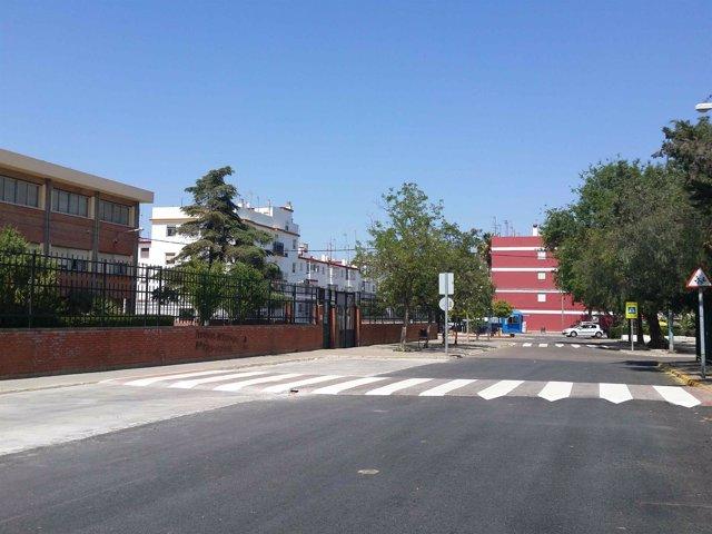 Calle de acceso al colegio El Almendral de Carmona