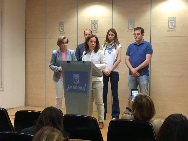 Sara Hernández y Purificación Causapié en rueda de prensa
