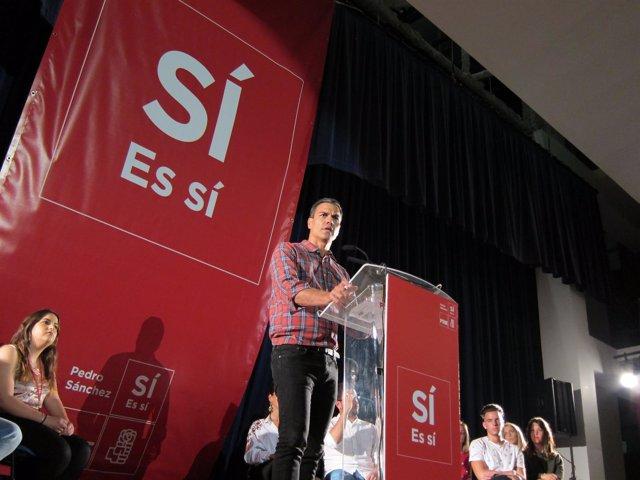 Pedro Sánchez, en un acto en Huelva.