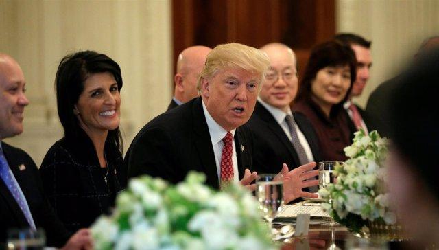 El presidente estadounidense, Donald Trump, durante una cena diplomática