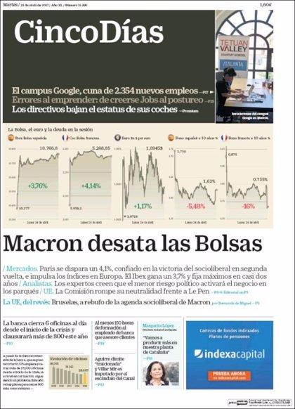 Las portadas de los periódicos económicos de hoy,martes 25 de abril
