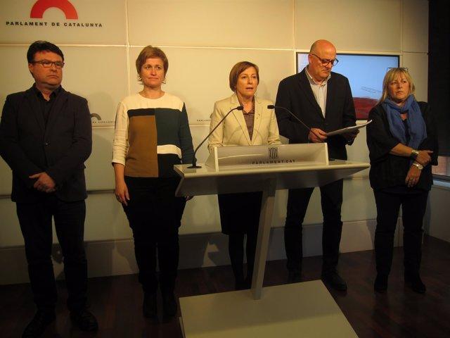Joan Josep Nuet (SíQueEsPot),pta.C.Forcadell,Anna Simó,Ramona Barrufet (JxSí)