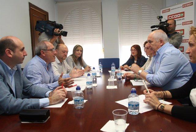 Cornejo y Carbonero durante la reunión en CCOO-A