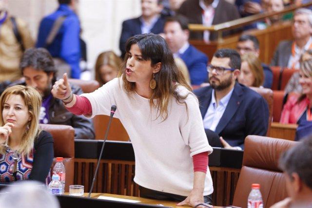 Teresa Rodríguez, este jueves en el Parlamento
