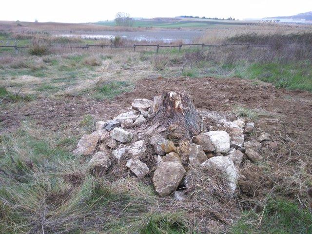 Refugio con técnicas de pilas de piedra