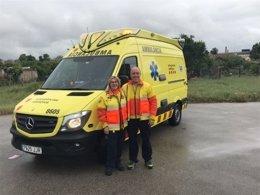Ambulancia del Sem que ha trasladado a la mujer