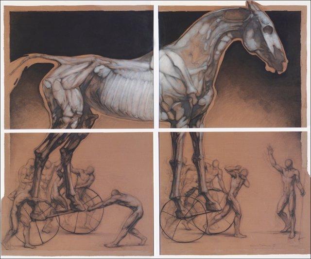 Tiris i troians, cera y óleo sobre cartón. 200x240 cm. 1999.Jpg