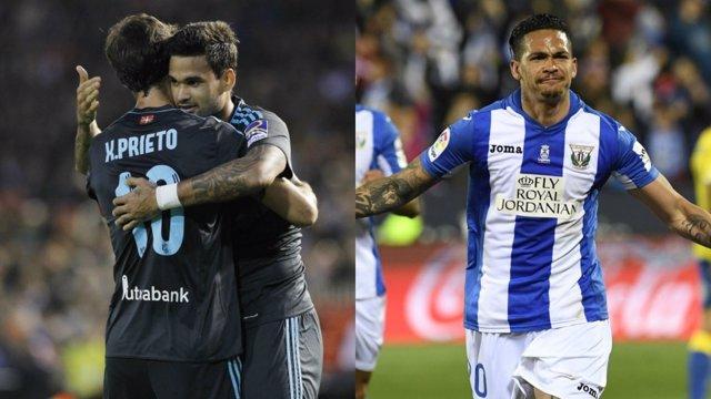 Willian José y Luciano celebran la victoria de Real Sociedad y Leganés