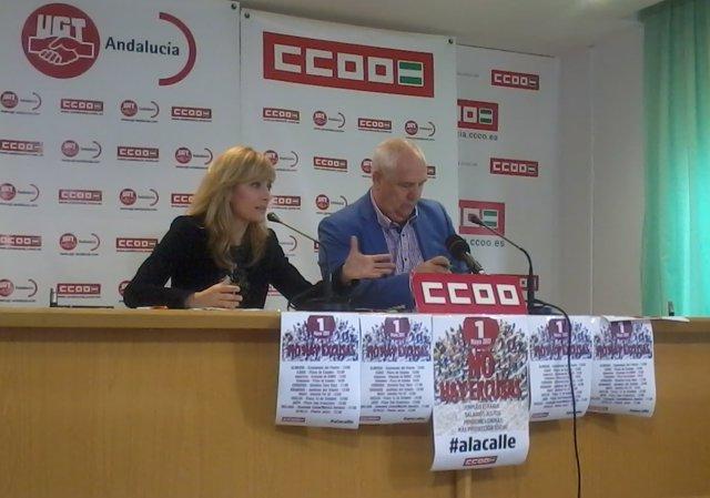 Los líderes de UGT-A y CCOO-A, Carmen Castilla y Francisco Carbonero