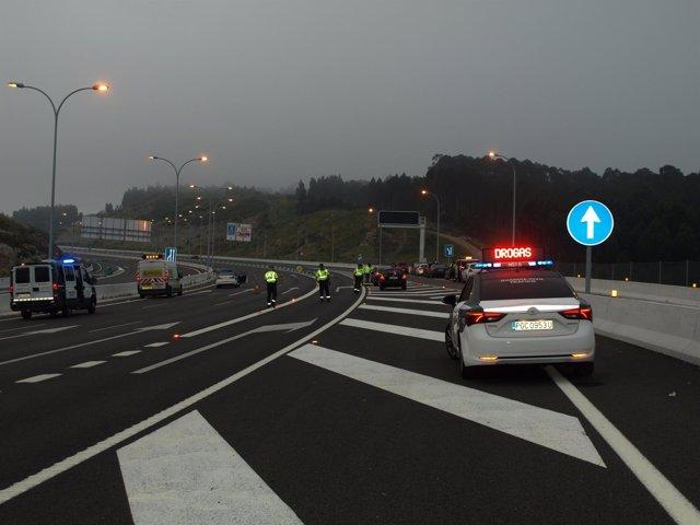 Control de drogas de la Guardia Civil en Galicia.