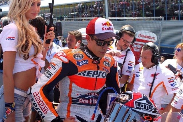 Marc Marquez en la parrilla de salida del Circuito de Jerez