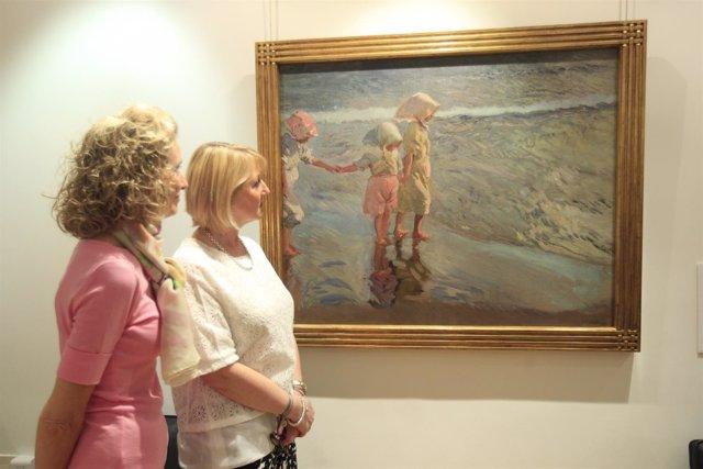 Pilar González y Alexandra McMorrow presentan el cuadro de Sorolla y Bastida
