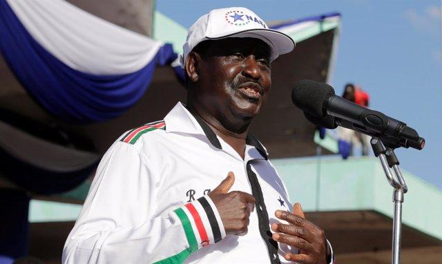 Raila Odinga, candidato de la oposición a la Presidencia
