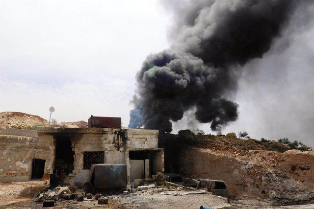 Bombardeo sobre Maar Zita, en la provincia siria de Idlib